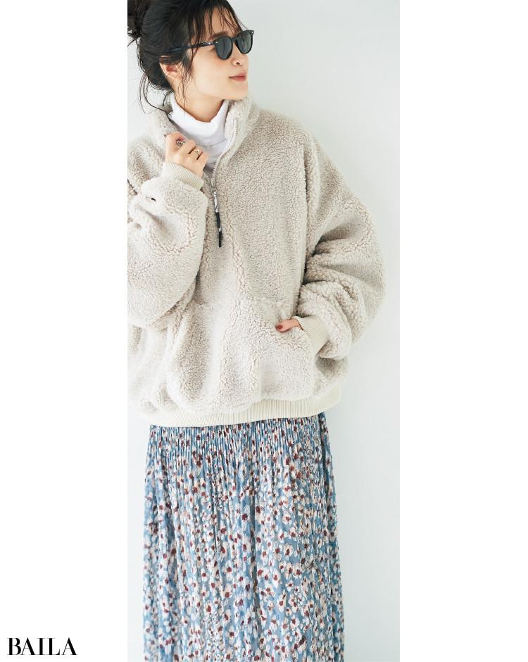 ワンピースのスカート風コーデ