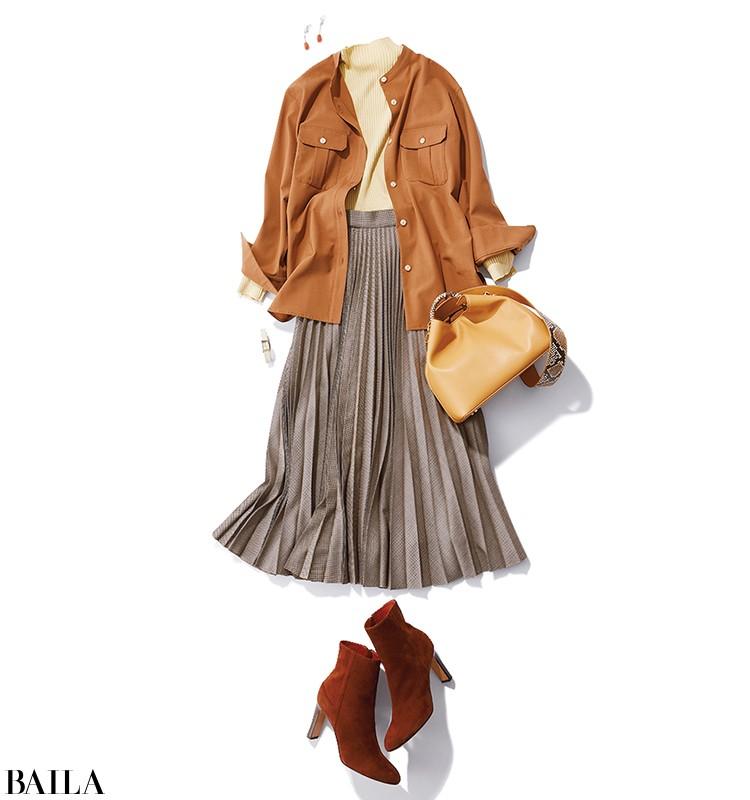 クライアントとの打ち合わせは、旬のCPOジャケット風シャツを使ったスカートスタイルで【2019/11/29のコーデ】_1