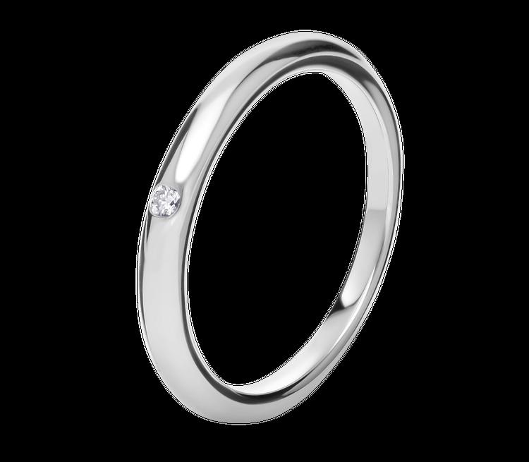 「フェディ」マリッジリング(Pt×ダイヤモンド)¥143000/ ブルガリ ジャパン
