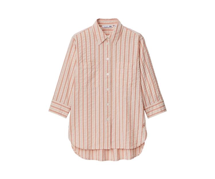 「ユニクロ アンド JW アンダーソン」2021春夏最新コレクション シアサッカーストライプシャツ(7分袖)¥2990