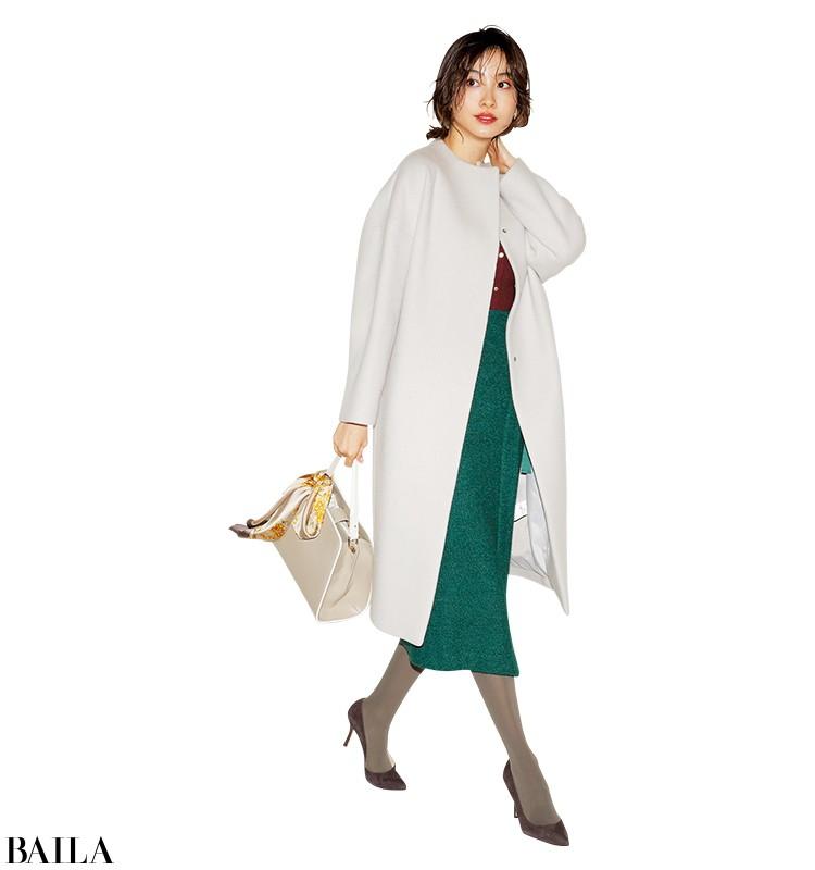 朝寝坊した日は、華やか色のニット×スカートのワンツースタイル【2020/1/21のコーデ】_1