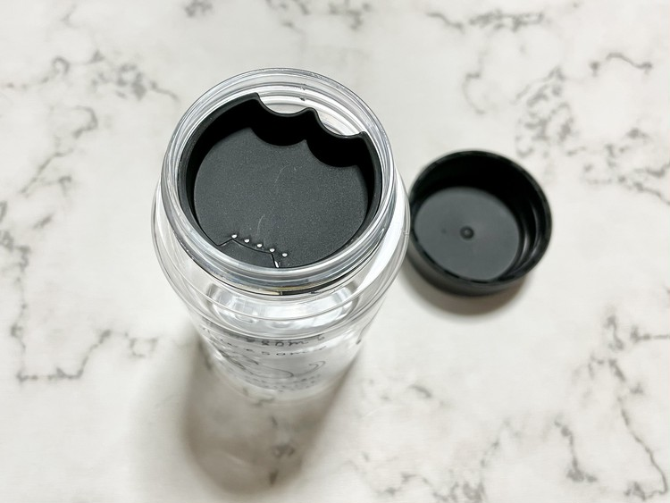 【セリアの猫グッズ4】ドリンクボトル350 ゆるアニマルの蓋を開いた写真