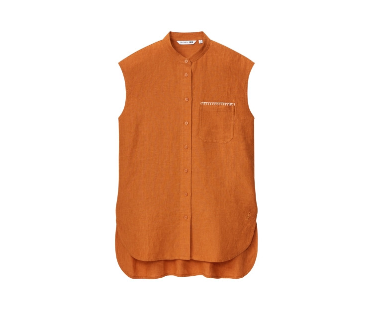 「ユニクロ アンド JW アンダーソン」2021春夏最新コレクション リネンスタンドカラーシャツ(ノースリーブ)¥3990