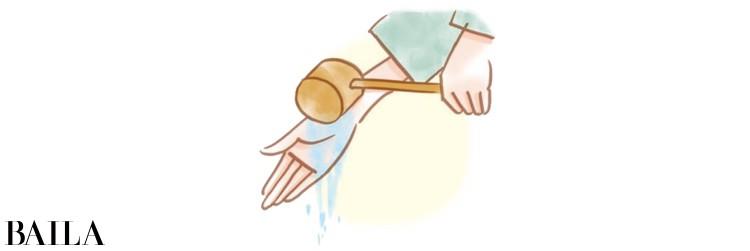2 柄杓を左手に持ち替えて、右手を清める