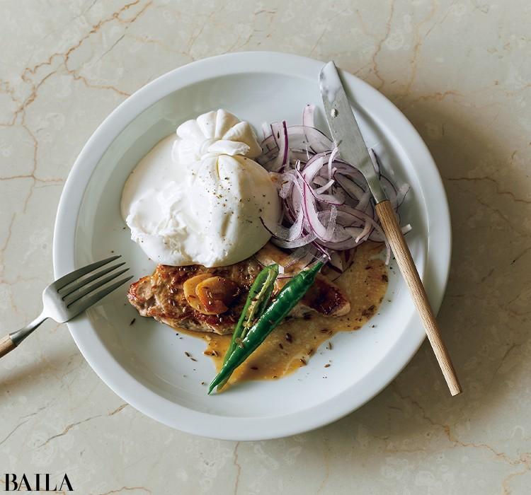 ブッラータと厚切り豚のステーキ