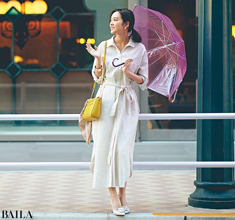 雨がぱらつく日は、高機能リネンワンピのすっきりスタイル!【2020/3/18のコーデ】_1