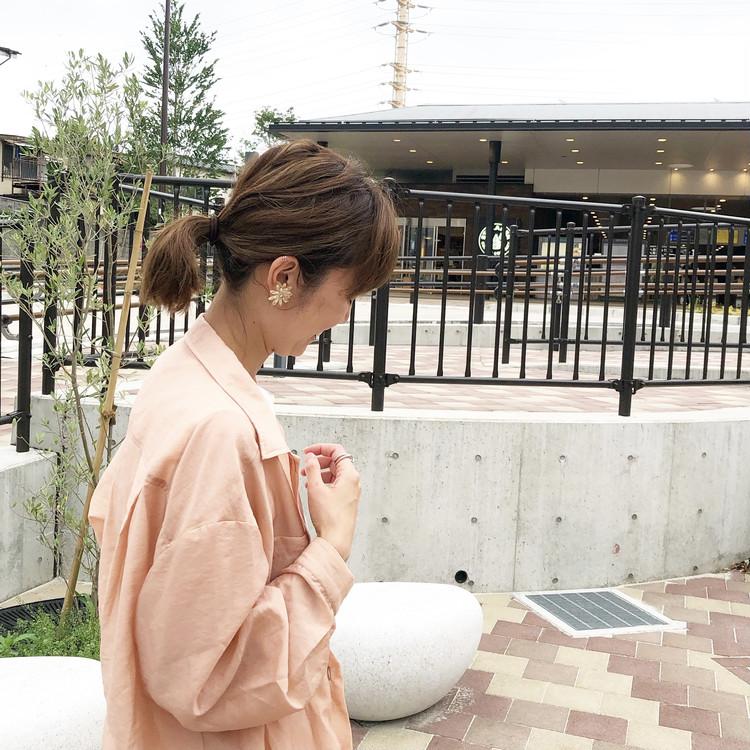トレンドのシアーシャツ‼︎くすみピンクのシアーシャツコーデ_1
