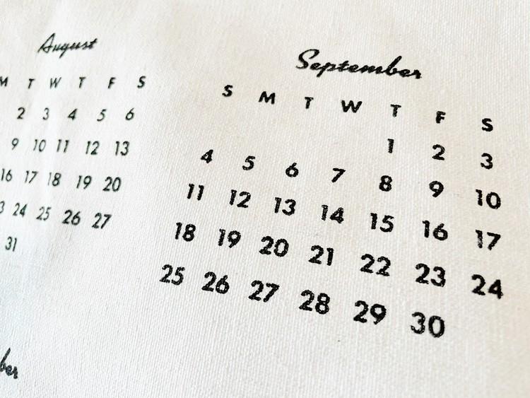 ファブリックカレンダーのプリント