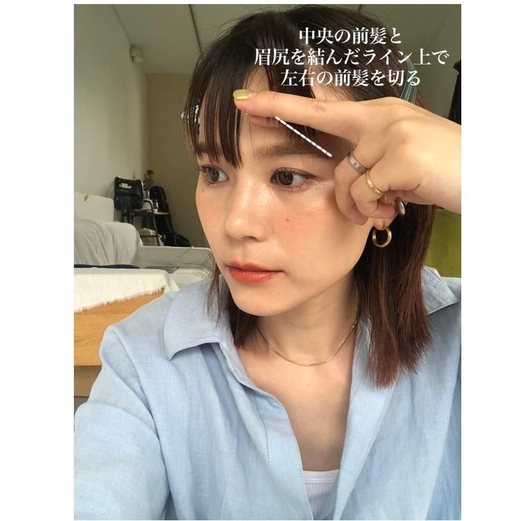 STEP2/中央の前髪と左右の前髪を繋げるようにカット