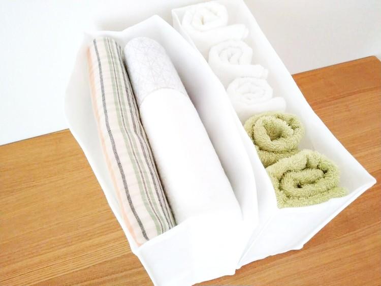 タオルを入れた高さが変えられる不織布仕切ケース