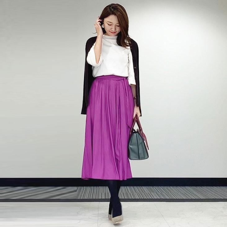 【GUのスカート】パープルのサテンスカートで秋コーデ_1