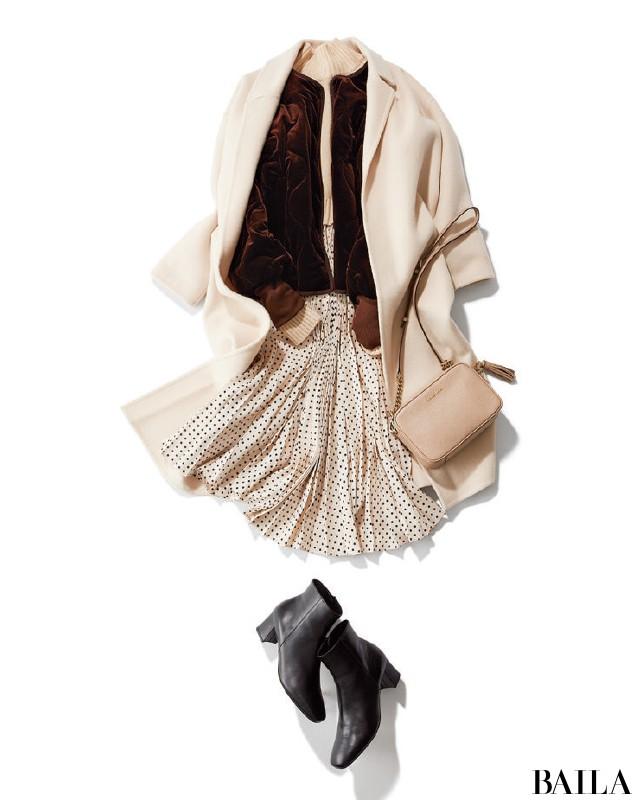 取引先との忘年会の日は、華やかなホワイトスカートスタイルで【2018/12/14のコーデ】_1