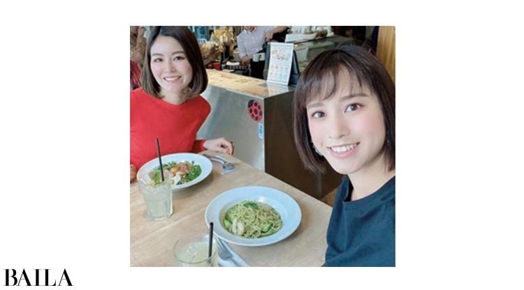 バイラーズ同期の海野尾美紀ちゃんとパスタランチ。