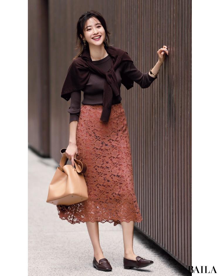 濃×淡グラデーション  ブラウン ニット レーススカート