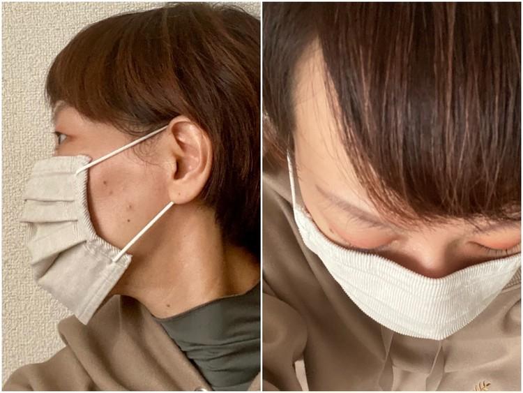 【無印良品】「繰り返し 使える 2枚組・マスク」秋冬向けあったかバージョン3種が新発売 コーデュロイ素材 女性着用画像