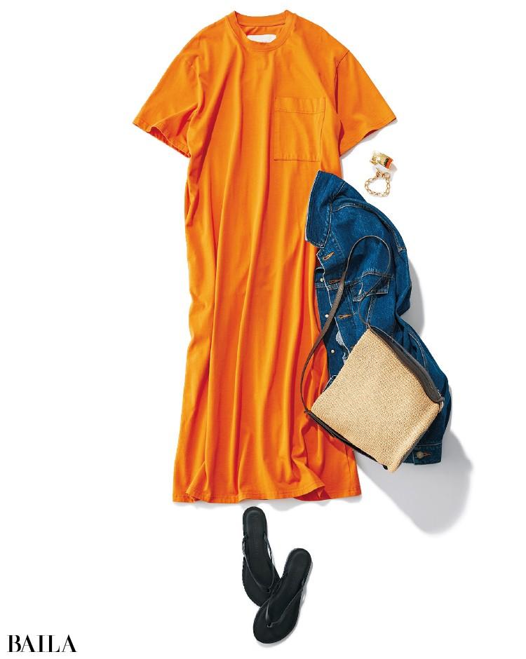 イエベ×女顔に似合うオレンジのワンピース