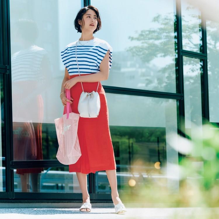 金曜日は、快活なマリンボーダーにカラースカートを合わせて一気にこなれ!【30代今日のコーデ】