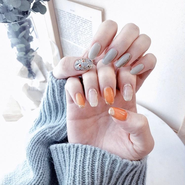 【春ネイル】上品ミント×オレンジの指先で春を先取り♡_1