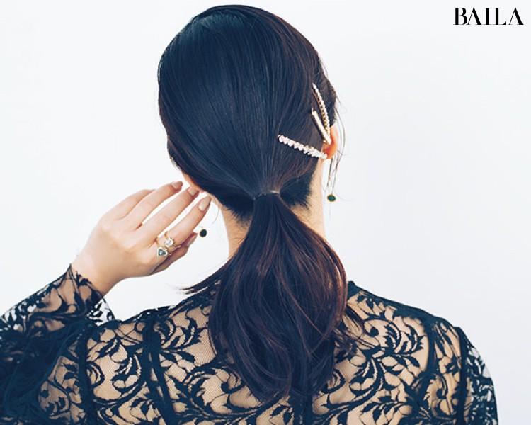 【ビジューヘアピンMIXづけ】でひとつ結びをおよばれヘアスタイルに!<動画あり>_10