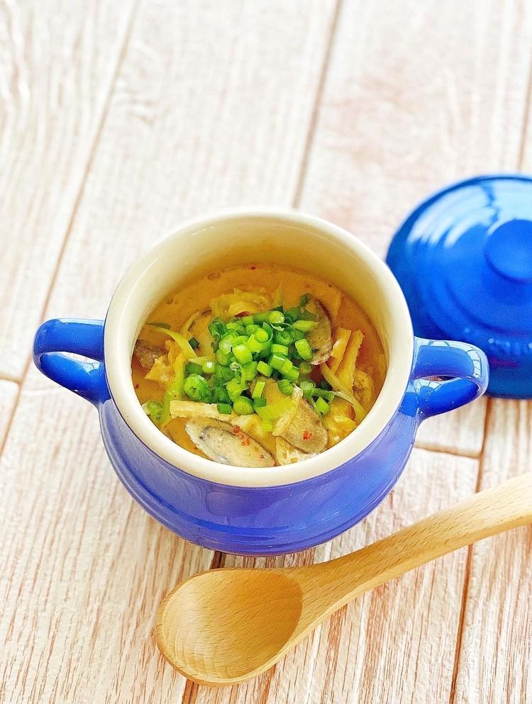 【いいことしかない乾物レシピ1】干ししいたけと油揚げ・ごぼうのレンチンスープ