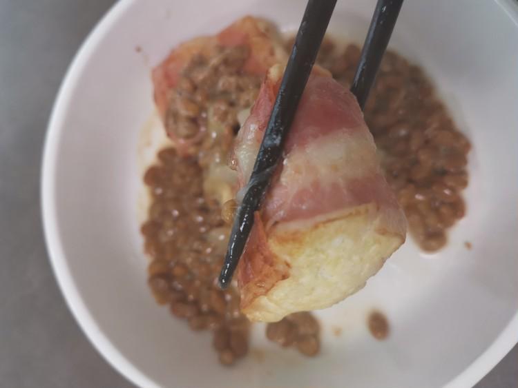 【低糖質レシピ】ガツンと肉巻き納豆ソースがけ_4