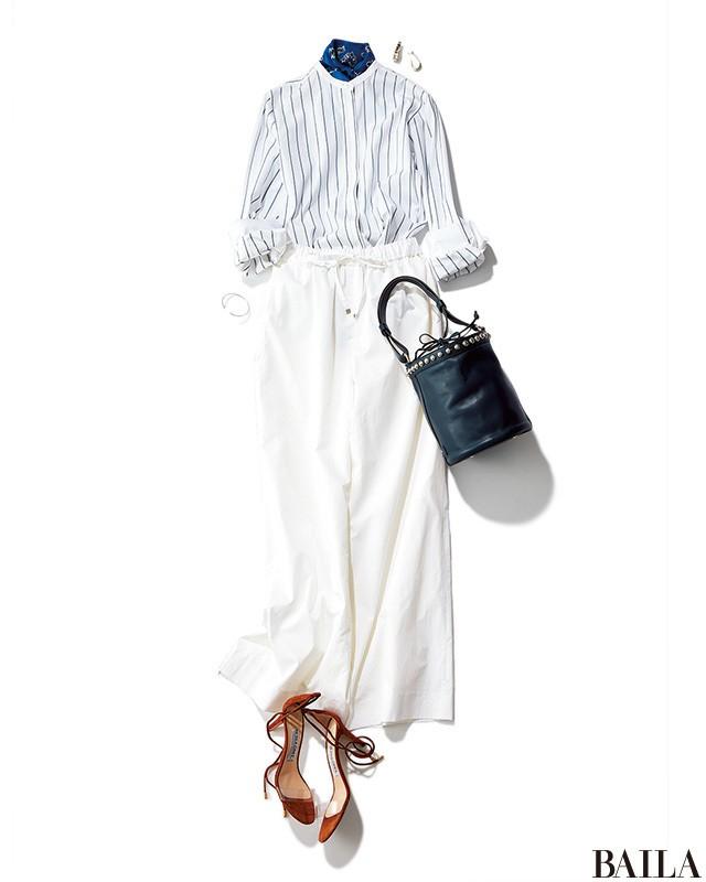 涼しげで大人っぽい♡ ストライプ&ホワイトの女っぽパンツスタイル♡【2018/6/2のコーデ】_1