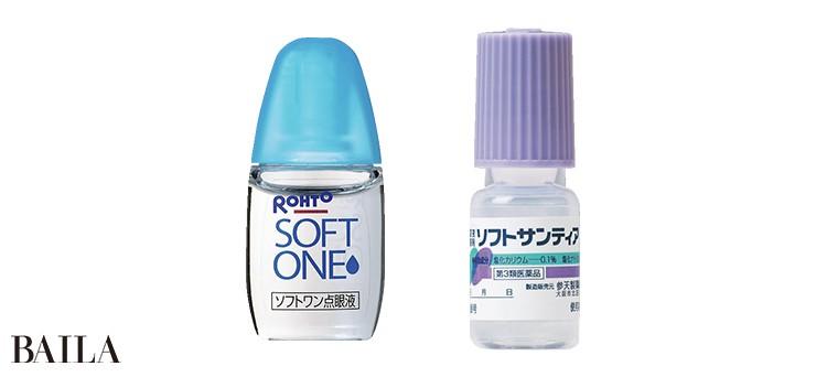 (左)コンタクトレンズ装着時の目の不快感、疲れ、乾きなどに。防腐剤無添加。ロート ソフトワン点眼液 5㎖×4本 ¥750/ロート製薬 (右)涙に近い性質の人工涙液。防腐剤無添加。ソフトサンティア 5㎖×4本 ¥880/参天製薬