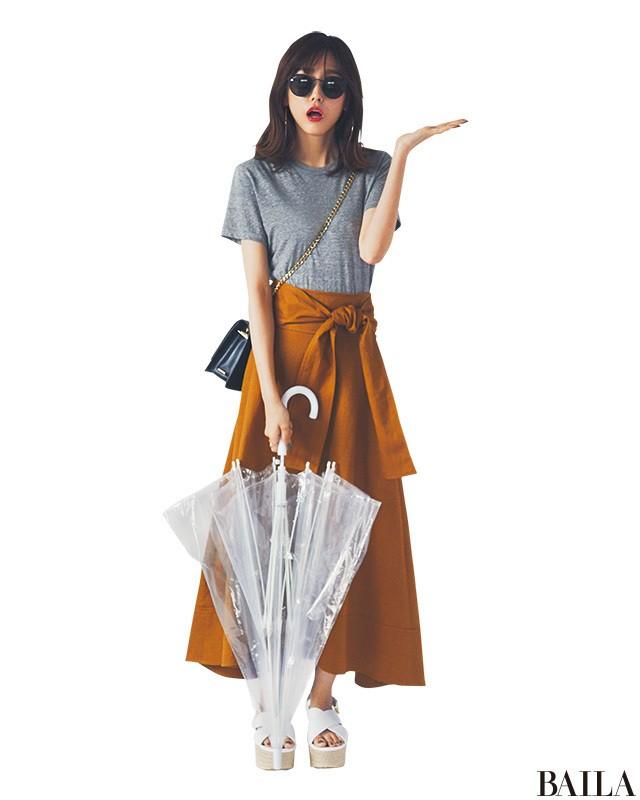 雨の日もOK♡ Tシャツ×長めスカートで、好感度コーデ!【2018/6/14のコーデ】_1