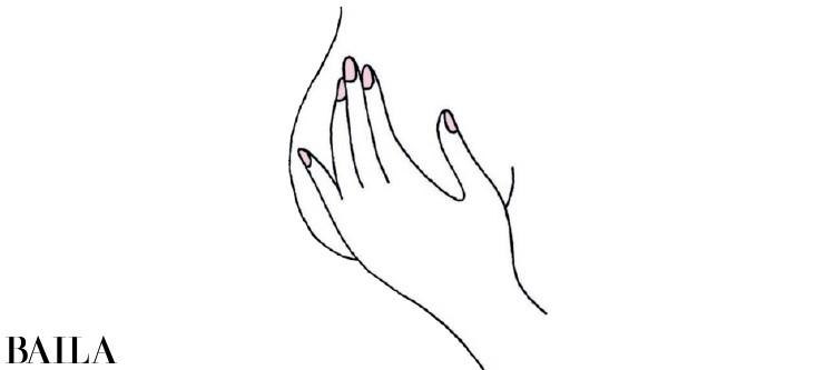 指をそろえて10円玉大の円を描くようにわきの下から乳房全体、アンダーバストまでをチェック。