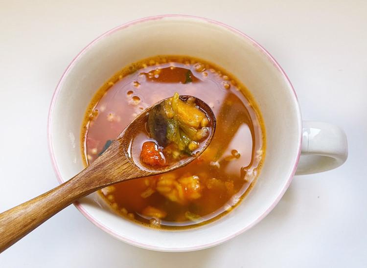 小さめごはん ほうれん草と揚げ茄子のトマトリゾット(アップ)