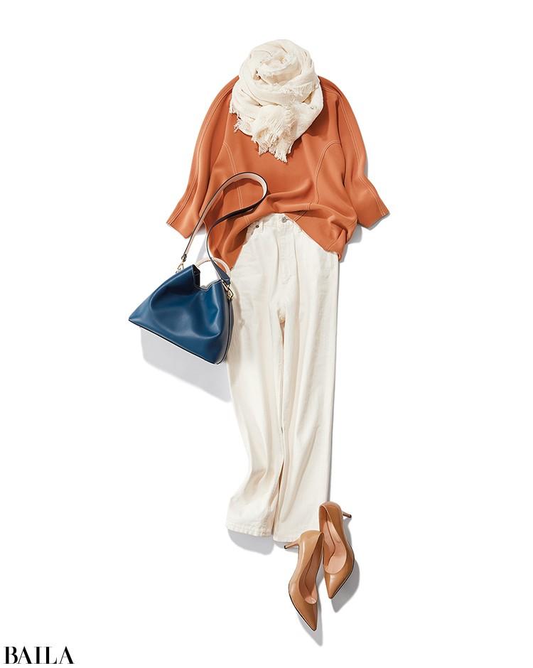 会社帰りに美容院に行く日は、楽ちん白デニムをオレンジトップスできれいめにまとめて【2020/2/25のコーデ】_1