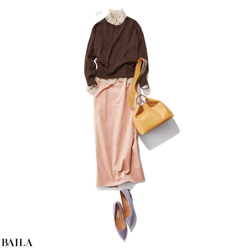 女子会の日は、チョコブラウン×ミルクピンクの大人の甘めスカートスタイル【2019/12/7のコーデ】_1