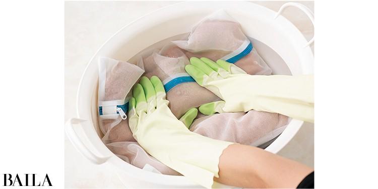 洗うときはこすったりせず必ず押し洗いで