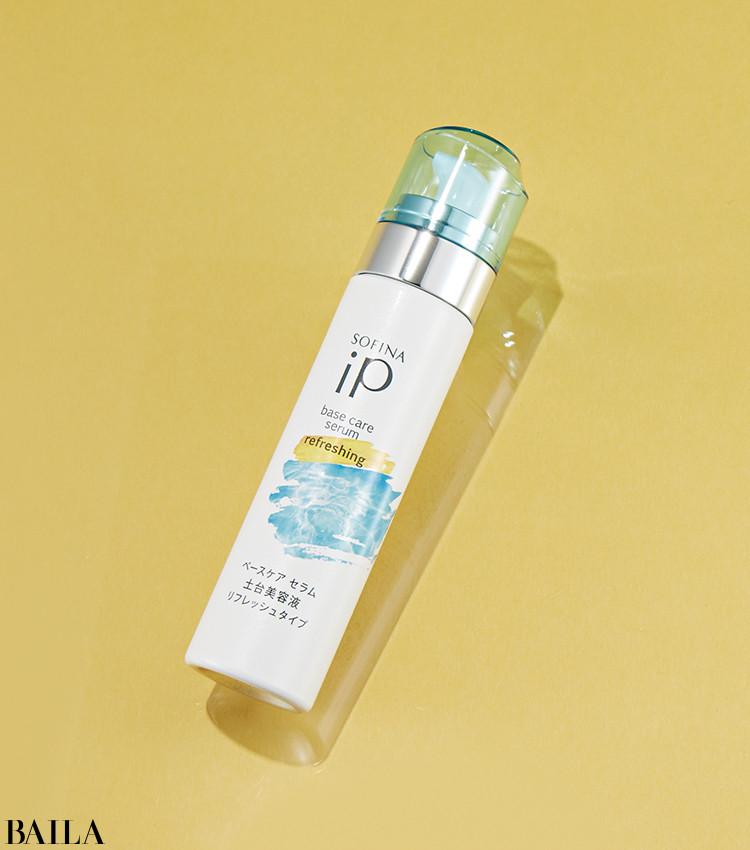 人気の土台美容液が、さっぱりとした使用感で登場。ソフィーナ iP ベースケア セラム〈土台美容液〉リフレッシュタイプ 90g ¥5500(編集部調べ)/花王(限定品)