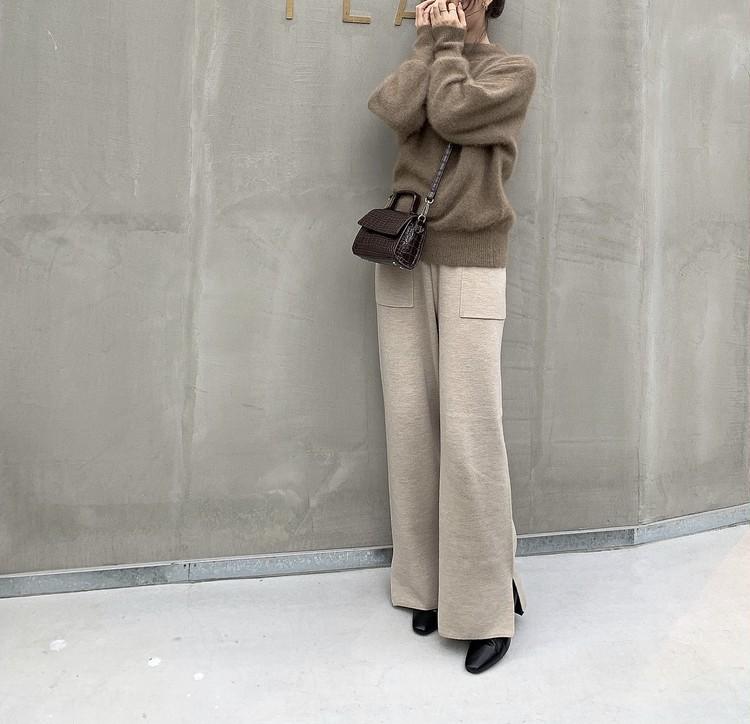 【GU】履き心地の良さが魅力「ニットワイドパンツ」コーデ②_2