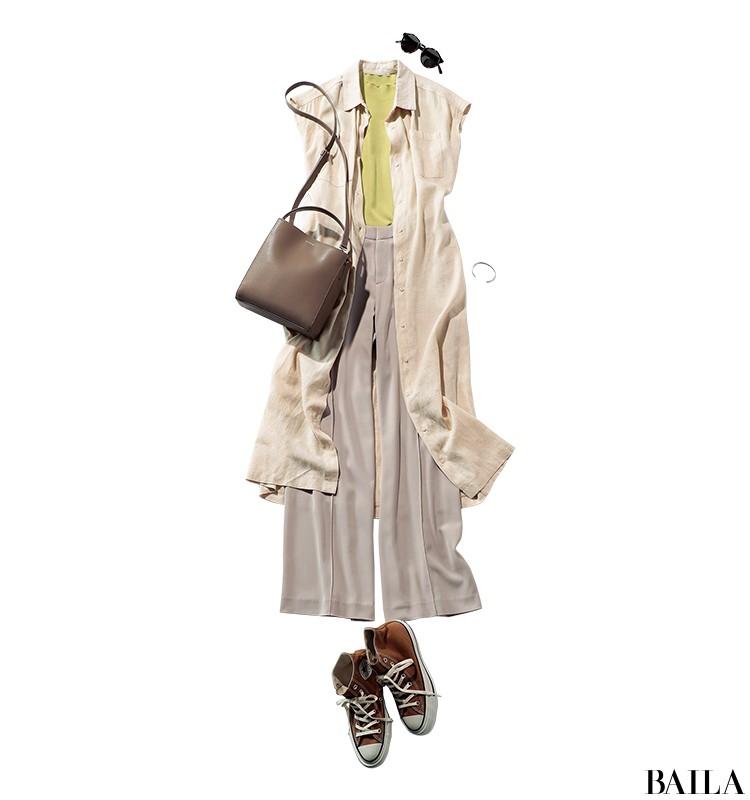 女友達とお台場に行く日は、きれい色を効かせたリラックスワイドパンツスタイル【2019/9/1のコーデ】_1
