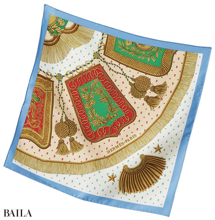 エルメス スカーフ「サーベル飾袋・デタイユ」¥24000