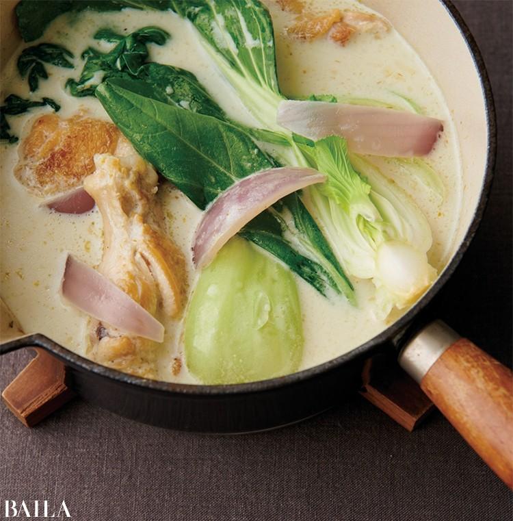チンゲン菜のグリーンカレー鍋