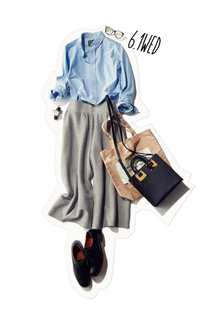 スクールガール風に♡ ベーシックシャツ×ガウチョの組み合わせがおしゃれすぎる!_1