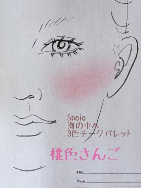 台湾コスメブランド「Speio」(スぺイオ)の「#BP003海の中へ3色チークパレット」、桃色さんごを実際に試してみた