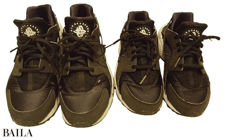 「今まではヒール靴がメインでした がお散歩時間が増え、スニーカーに チェンジ! 夫と息子と3 人のお そろいスニーカーを検討中です」
