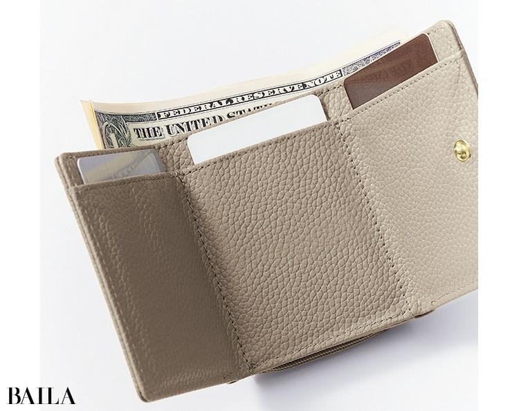 BAILA4月号付録ドゥーズィエム クラス上品グレージュミニ財布こだわりポイント2