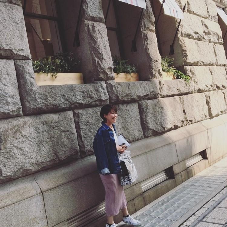 OOTD★ヴィンテージGジャンとさくら色のタイトスカートでお散歩コーデ_4