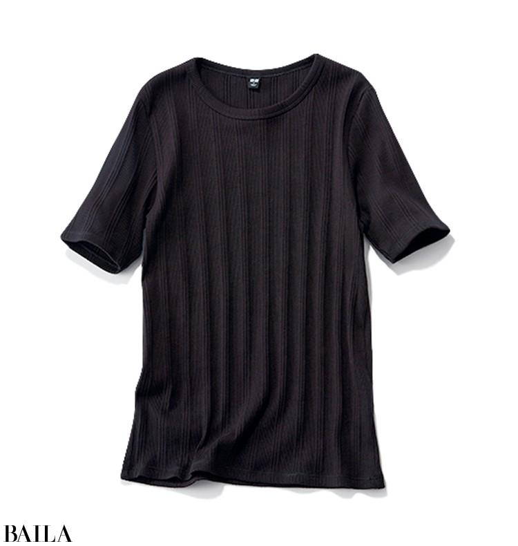 着回し5 黒リブTシャツ