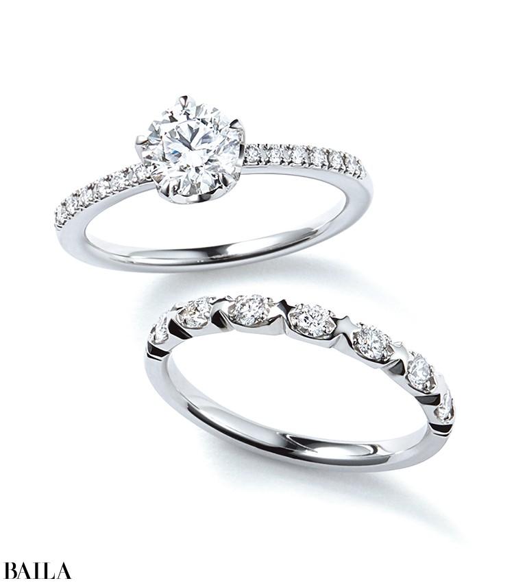 5つの爪で留めたセンターダイヤモンドが星のように輝く