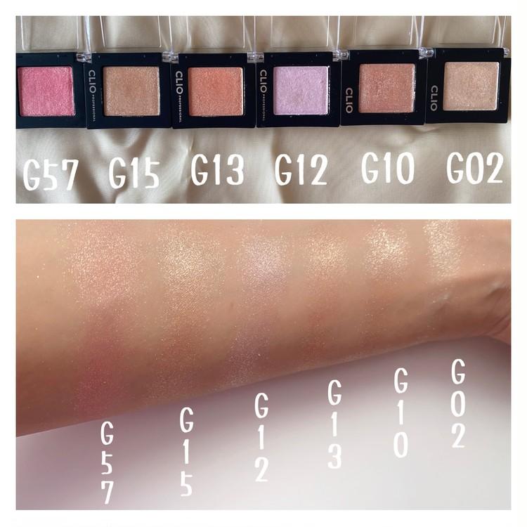 クリオのアイシャドウ「プロシングルシャドウ」 G02 CATBREEZE(キャットブリーズ)、G10 PEARLFECTION(パールフェクション)、G12 VIOLETFANTASY(バイオレットファンタジー)、G13 PINKLUSTER(ピンクラスター)、G15 SPARKLESAND(スパークルサンド)、G57 PEARLMANTIC(パールマンティック)の全6色スウォッチ