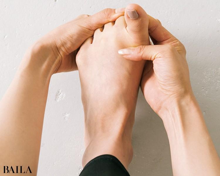親指を手前に起こしたら残りの指を奥に倒す