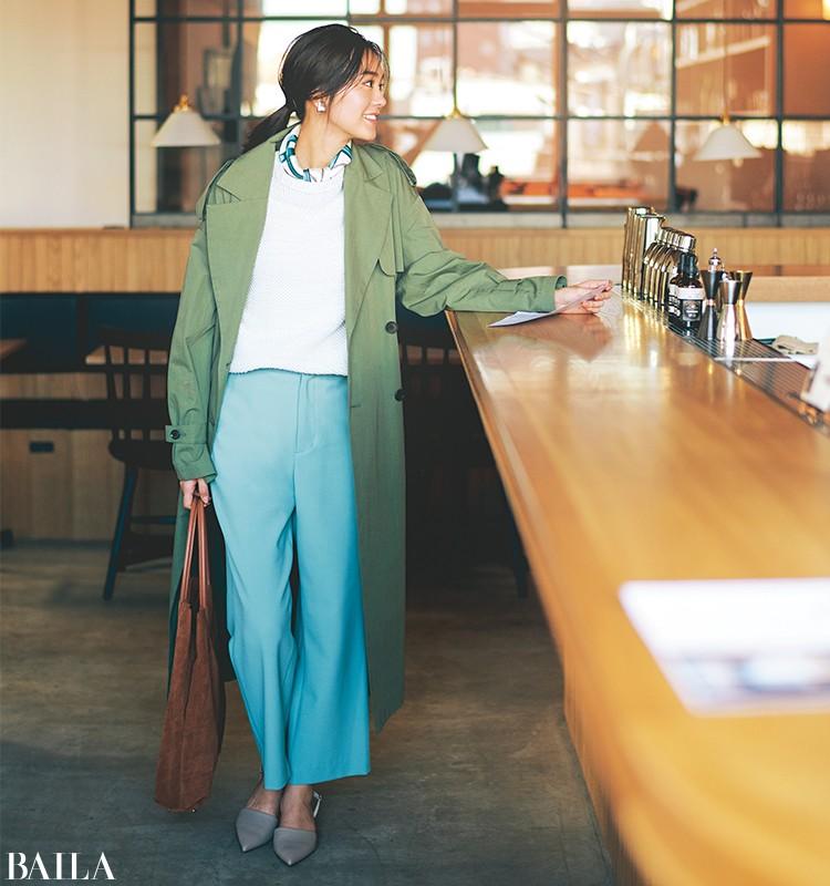 女らしい気分を盛り上げる、今っぽいカラーパンツを効かせた清楚系コーデ【2020/3/14のコーデ】_1