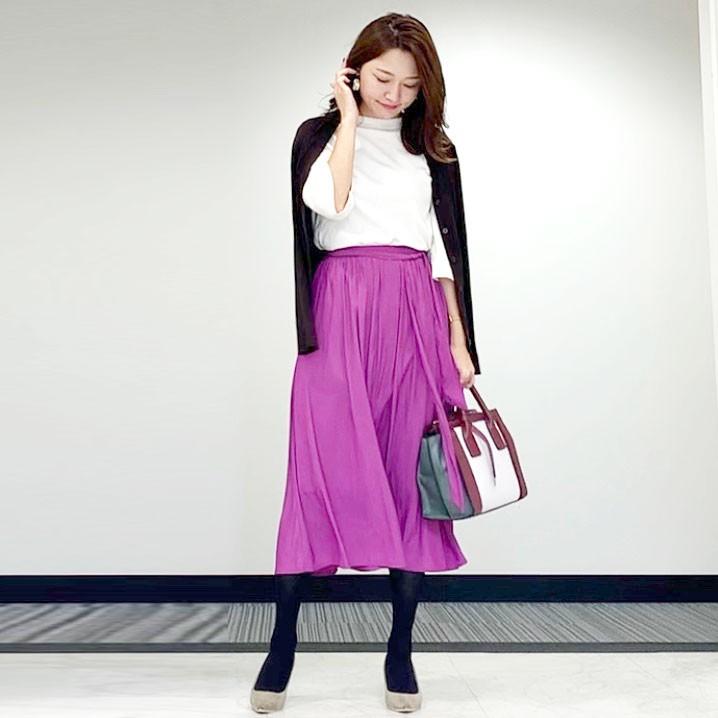 【GUのスカート】パープルのサテンスカートで秋コーデ_2
