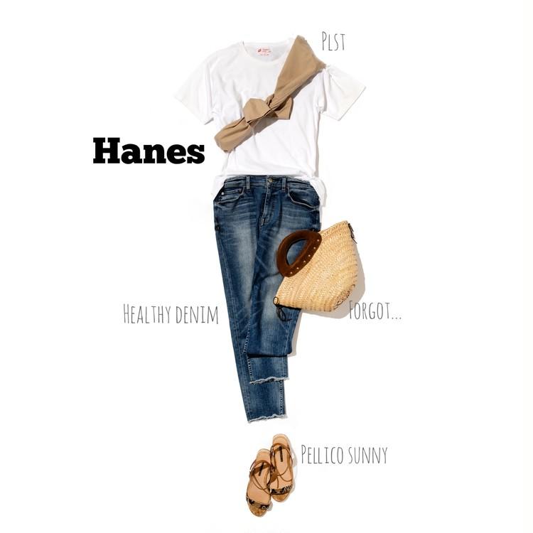 ヘインズの白Tシャツの着こなし